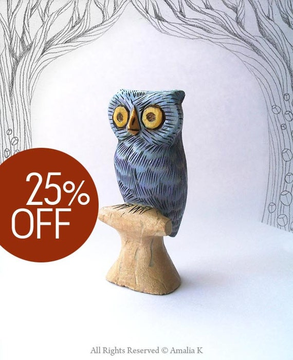 SUMMER SALE - Silvery Blue Owl - whimsical small animal wood carving