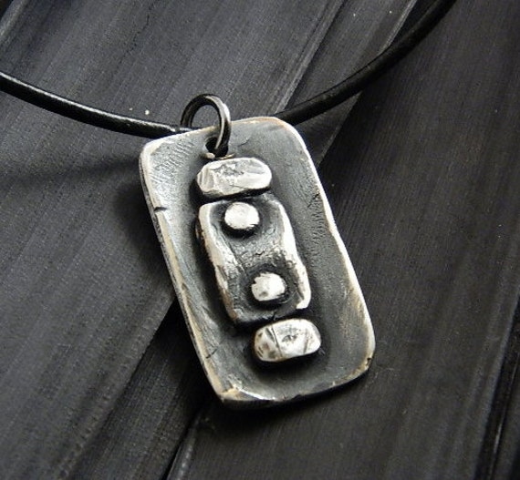 SALE- Rustic Industrial  Necklace Fine Silver Jewelry for men or Women