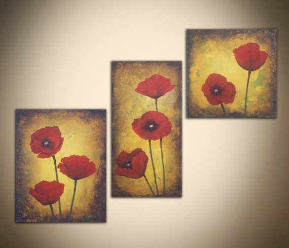 50% OFF everything in my store with coupon code VERYMERRY-Poppy Painting Trio: 3 red poppy yellow paintings, 8x8, 8x10, 6x12