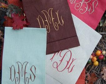 Monogrammed Fall Linen Hand Towels