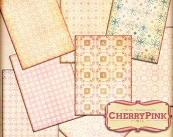 SHABBY CHIC collage sheet, patterned paper pack, pastel scrapbook, vintage patterns, grungy textures, scrapbook supply, Instant download