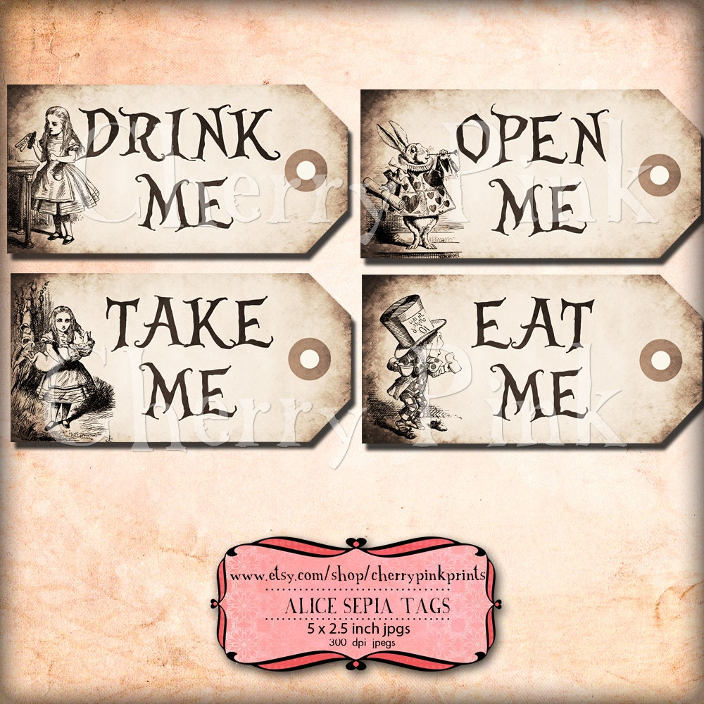 alice in wonderland tags template alice in wonderland tags sepia alice tags alice in