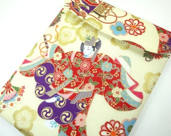 Handmade Galaxy Tab Sleeve, Gift For Her, Unique ereader Covers Kimono Cotton Fabric Japanese Dancing Pale Yellow