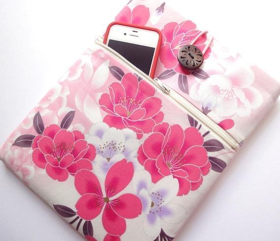 LAST ONE Kimono iPad 3 Sleeve iPad 2 Cover iPad Case - Front Zippered Pocket Padded Tablet case - Japanese Cotton fabric peony pink white