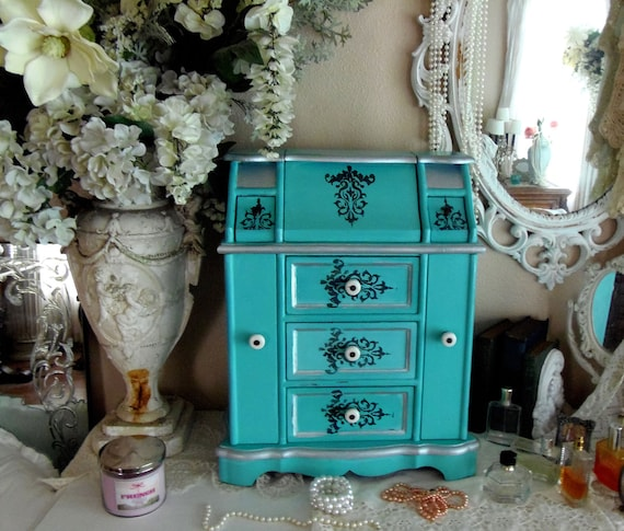 Paris Apartment French Country Ornate Wood Jewelry Box Country French Jewelry Armoire Cottage Chic Romantic Design Du'Jour