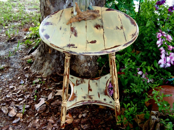 French Country Round Side Table Rustic Wood By