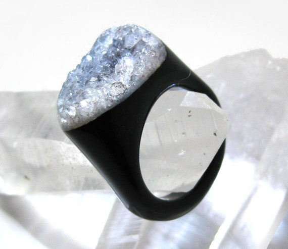 Black Druzy Agate Ring  size 9