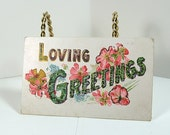 Antique Greeting Postcard August 1908 - Loving Greetings - Pink Roses