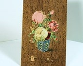 Antique Greeting Postcard 1908 - Love - Pink & Yellow Roses