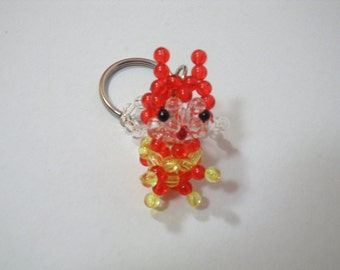 Beaded Bee Keychain, Unique bee Keychain, Red Bee Key chain, Bead Bee, Red and Yellow Bee Keychain, Mini Bee Beaded Keychain, Beaded Bees