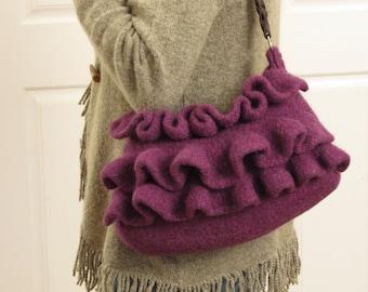 Knit Bag Pattern, Felted Purse Pattern, Knit Purse Pattern, Knitting Pattern - Amethyst Ruffle - Knitting Patterns by Deborah O'Leay