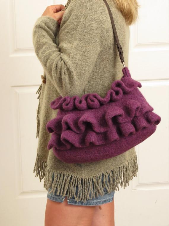 Knit Pattern Ruffle Bag : Knit Bag Pattern Felted Purse Pattern Knit by DeborahOLearyPattern
