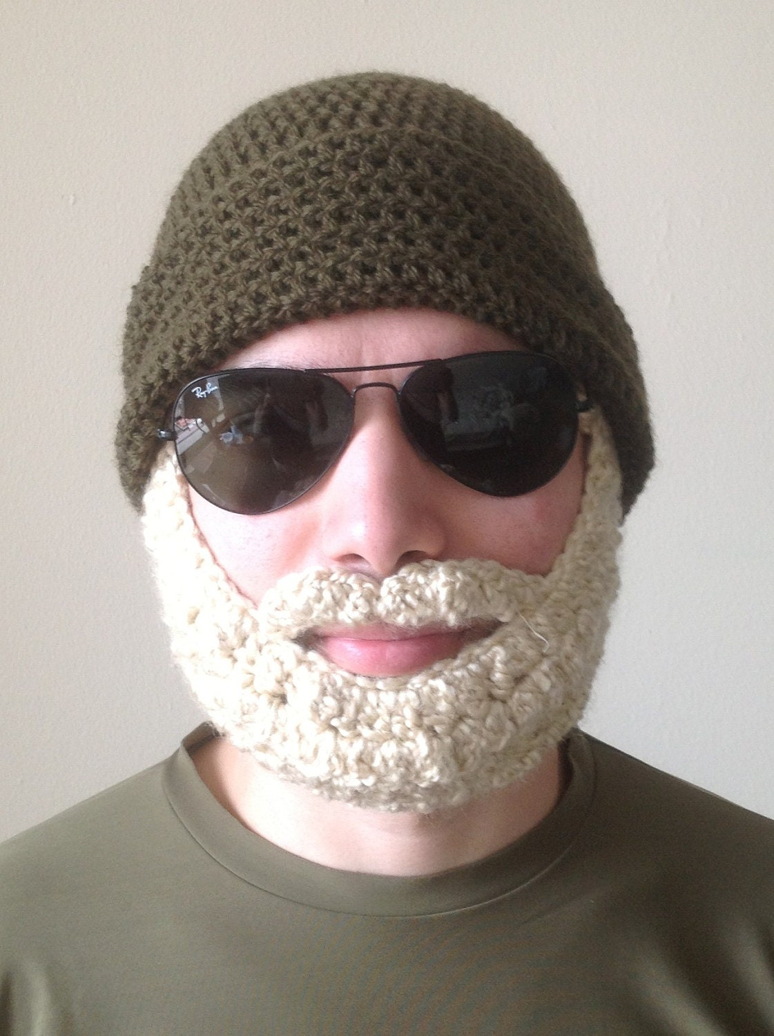 Handmade Crochet Beard Hat in Olive green beanie hat with
