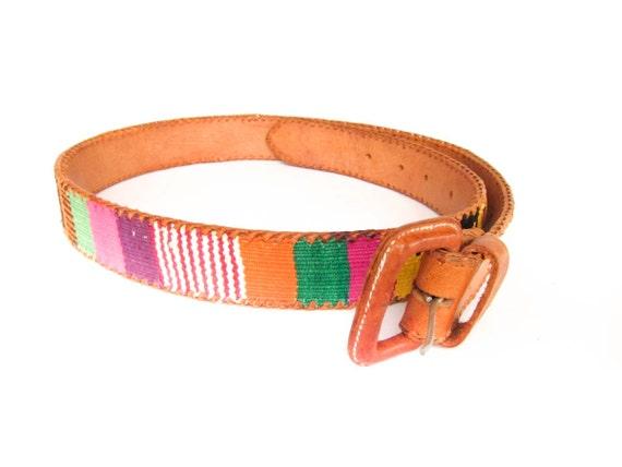 Vintage Ikat Leather Belt