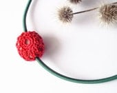 Red pendant necklace / classic red crochet oval pendant on kelly green cord crochet covered fake stone rock polymer clay and cotton thread