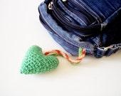 green heart plush keychain on long cord / amigurumi  crocheted heart / bag charm key chain