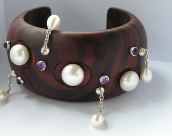 Mahogany cuff with natural button pearls and amethyst by Kay Knight Designs