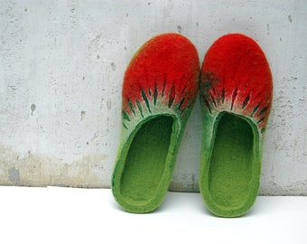 Felted Slippers Summer Berries Handmade Red Green Strawberries Women home shoes Women winter shoes 100%  wool Gift for her