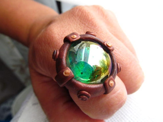 Steampunk Porthole Ring with Iridescent Green Glass Gem