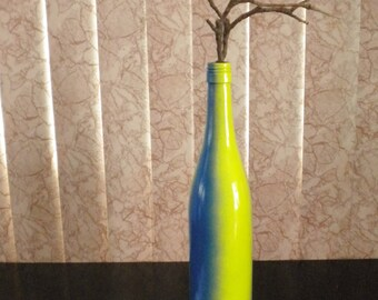 Coloful Green and Blue Painted Bottle Vase