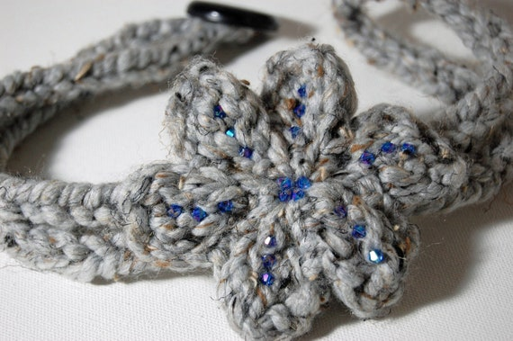 KNITTED HEADBAND - Limited Edition - HAIRBANDs with flower -hair band - button closure - Perfect accessory