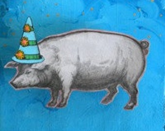 Blank greeting card: Party Pig