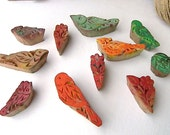 Eleven Carved Wooden Stamps of Birds and Flowers, Old Stamps, Wooden Stamps, Wooden Stamps of Birds and Flowers