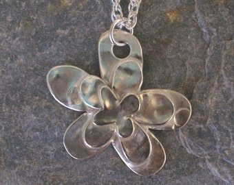 Sterling Silver Daisy Textured Necklace Pendant, hand-drawn with 3 layers, with sterling silver chain - earrings also available