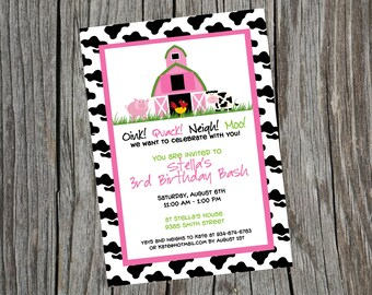 Farm Birthday Invitation. Barnyard Invitation.  Pink Barn Invite.  Barnyard Invite.  Pink Barn. Farm Invitation. Farm Invite.
