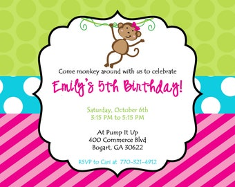 Customized Printable Monkey Birthday Party Invitation. Monkeying Around Birthday Invite