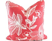 """ONE LEFT -On SALE -Pomegranate Red Throw Pillow Cover 18"""" X 18""""  -Accented With A Self Welt And Same Fabric On Both Sides"""