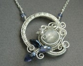 Night Flower - white star sapphire and blue iolite sterling silver wire wrapped woven necklace