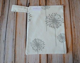 "Large Reusable Snack Bag with zipper closure 8""x10"" Dandelions- Snack bag, Make up bag"