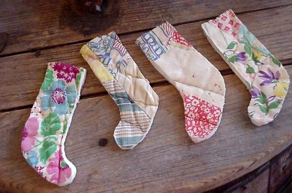 Primitive Stocking Appliques Feedsack Patchwork Cutter Quilt Prim Shabby Vintage ChristmasQuilted Embellishments itsyourcountry