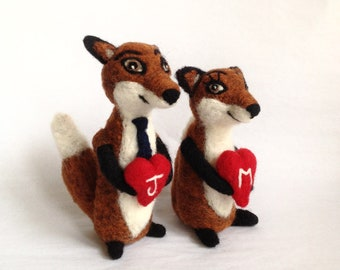 Mr. & Mrs. Fox - AdoraWools Wedding Cake Toppers -  Needle Felted Ornament