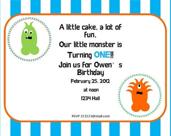 Lil' Monster Party Collection Printable Invitations
