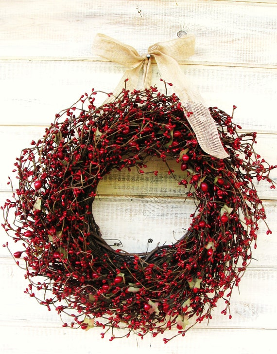 Holiday Red Berry Wreath Christmas Grapevine Wreath Fall Door