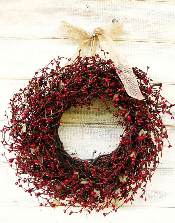 HOLIDAY RED Berry Wreath-Christmas Grapevine Wreath-Fall Door Wreath-Rustic Home Decor-Scented Cinnamon Vanilla-Custom Choose Scent