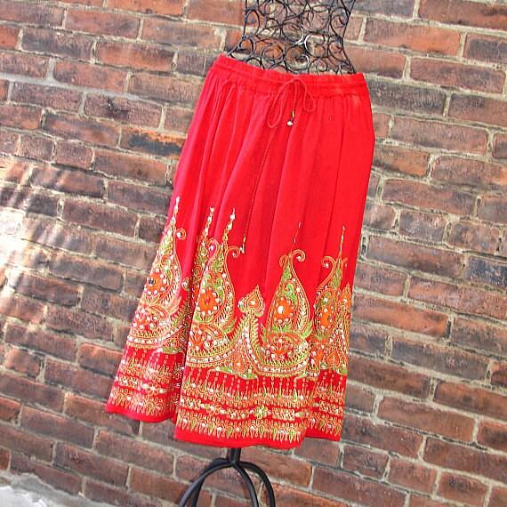 Red Gypsy Skirt: Boho Midi Skirt, Knee Length Indian Bollywood Skirt, Flowy Crinkled Bohemian Midi Skirt, Sequined Floral Cover Up
