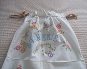 "Vintage French laundry bag - cotton with cross stitch - very clean  - 30 1/2""h x 19""w"