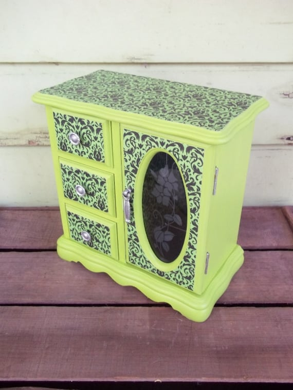 vivid chartreuse upcycled jewelry box