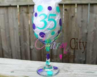 Birthday/Anniversary Wine Glass Personalized