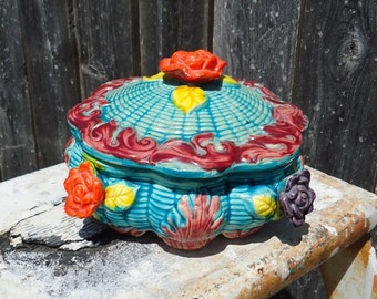 Turquoise Bold Colored Floral Trinket Bowl