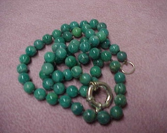 "Vintage Natural Green Turquoise Round Beads Necklace, 6mm, 19"", Giant Sterling Silver Spring Ring Closure"
