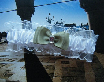Sage Green Double bow on White Satin and Organza Toss Garter