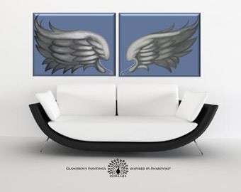 ANGEL painting. Angel art surreal painting on canvas. Guardian angel wing art. Angel wings wall decor. Archangel spiritual art. Angel art.