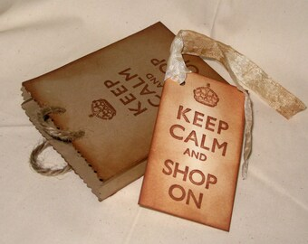 Keep Calm and Shop On Mini Vintage Inspired Hand Distressed Shopping Bag Favor Gift Card Holder Jewelry Bag