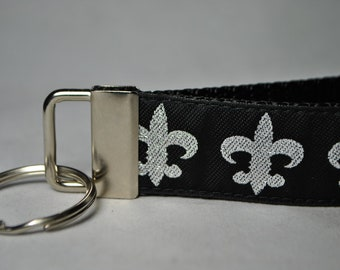 Fleur de Lis Black and Silver Key Fob