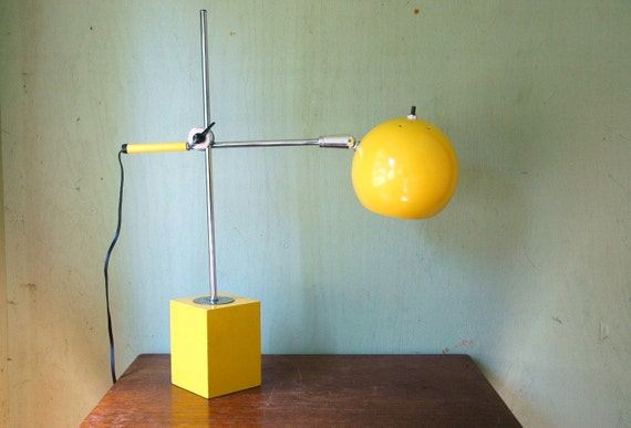 Mid Century Modern Eyeball Desk Lamp - Sonneman Style Space Age Yellow Ball Task Lamp