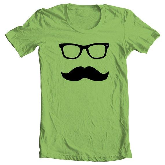 Wayfarer Mustache Tee Men's Women's - KIWI  Tshirt T shirt  -  Size L (cwt)(ns)